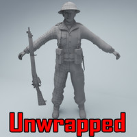 unwrapped british soldier rifle 3d max