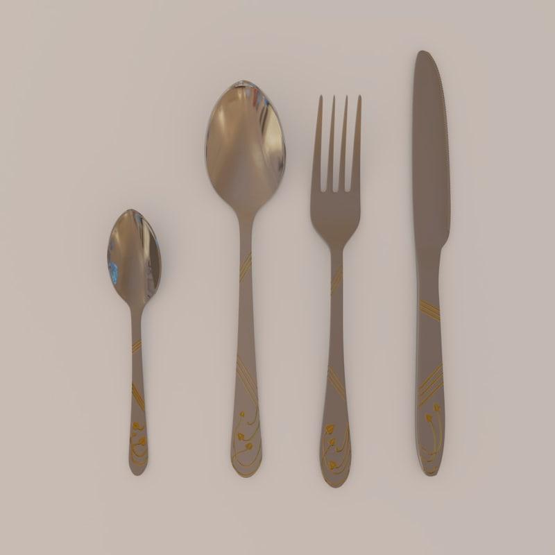 3d cutlery set gold -