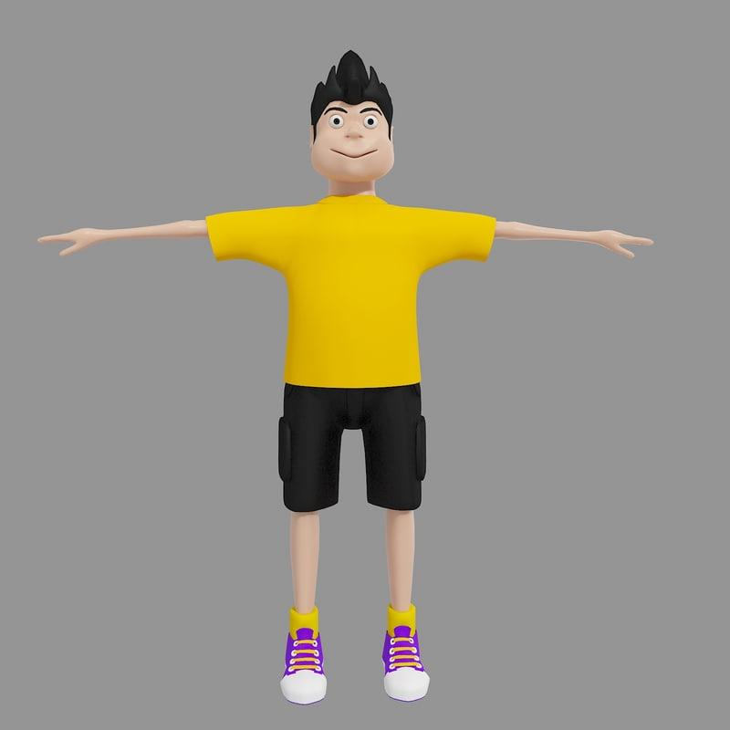 3d toon cartoon boy model