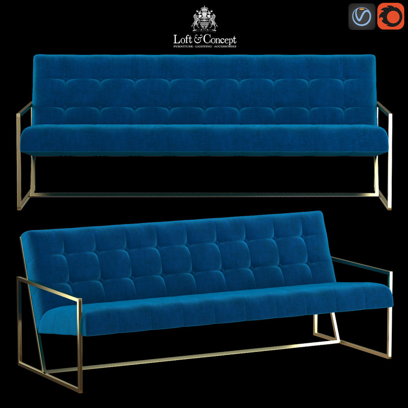 3d model navy velvet apartment sofa