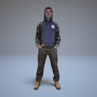 3d max guy camouflage clothes people human