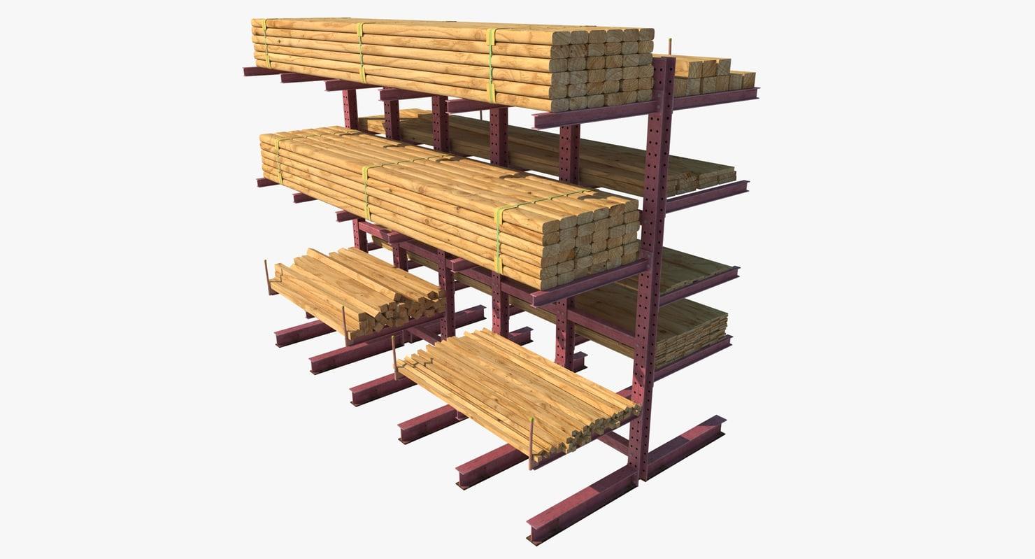 3d model modular racks loaded