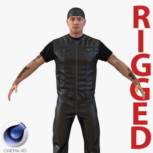 3d model biker man generic rigged
