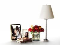 pictures books roses glass vase 3d model