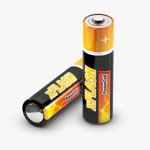 aa battery mignon 3d obj