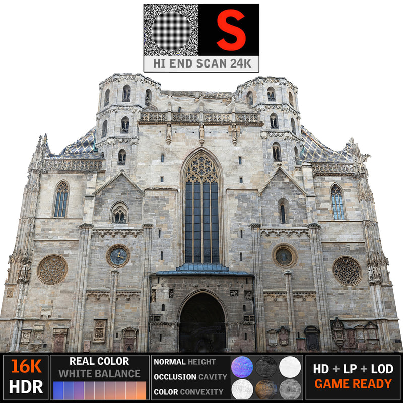 3d gothic architecture cathedral 24k model