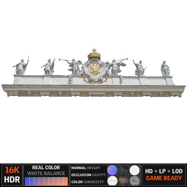 3d model of attic cornice building
