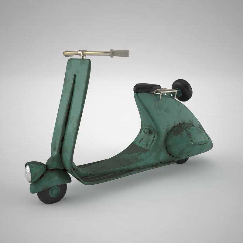 3d stylized cartoon rusty scooter model