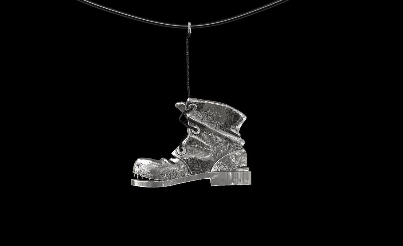 pendant old shoe silver 3d 3ds