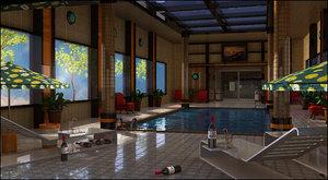 3d model pool interior swimming