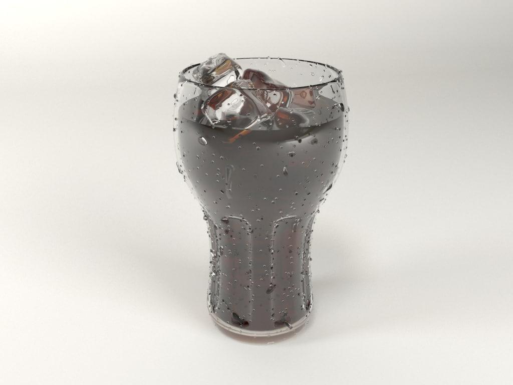 3d glass soda ice model