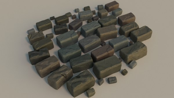 resolution bricks wet 3d model