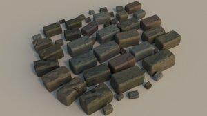 resolution bricks wet 3d model