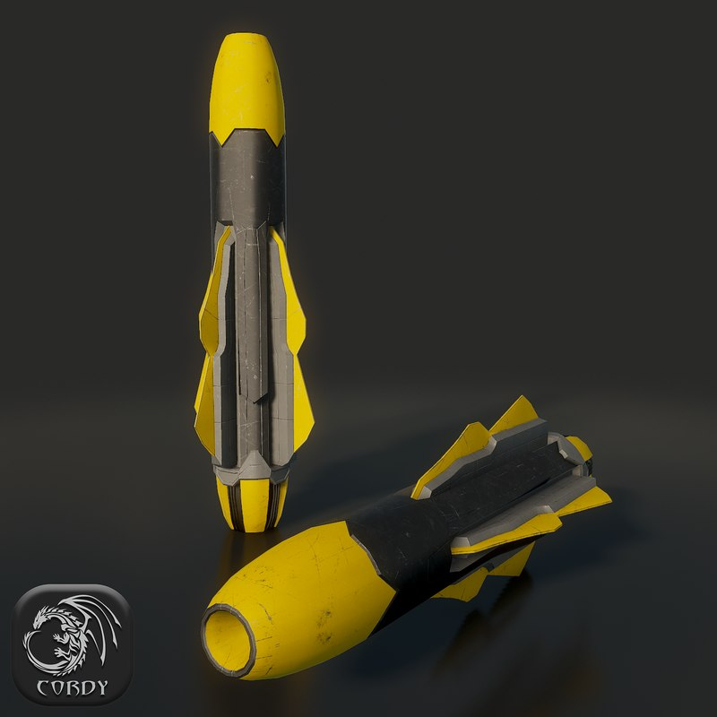 3d military missile model