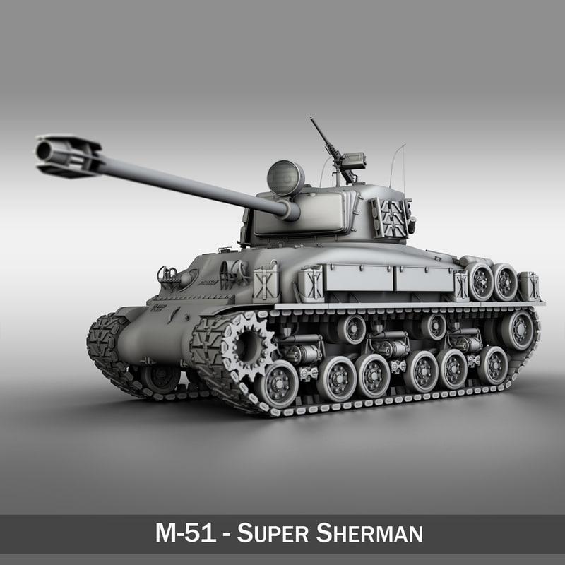3d m-51 super sherman tanks