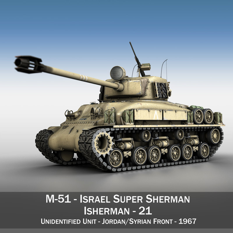 3d 3ds m-51 super sherman tanks