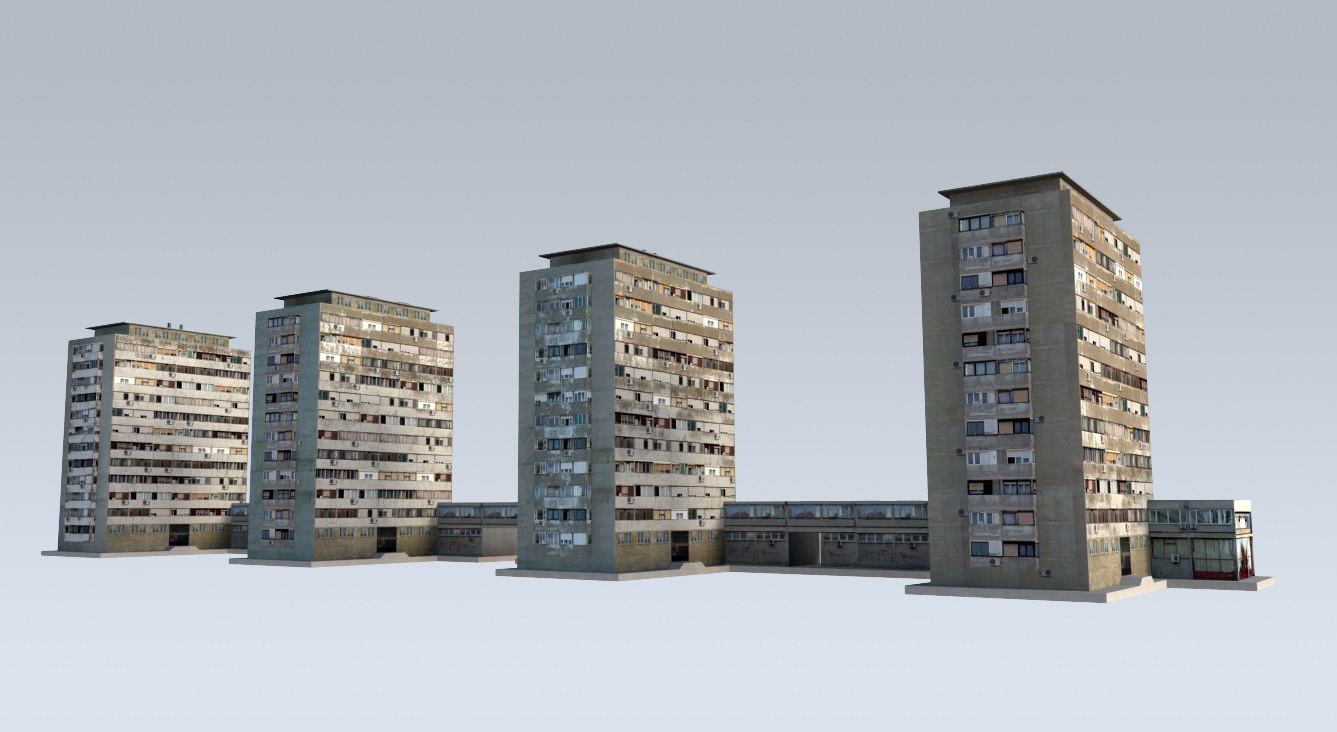 3d residential towers slums