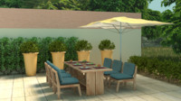 Garden furniture and plants