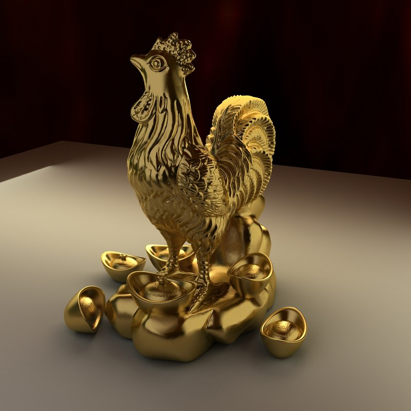 chinese zodiac rooster 3d model