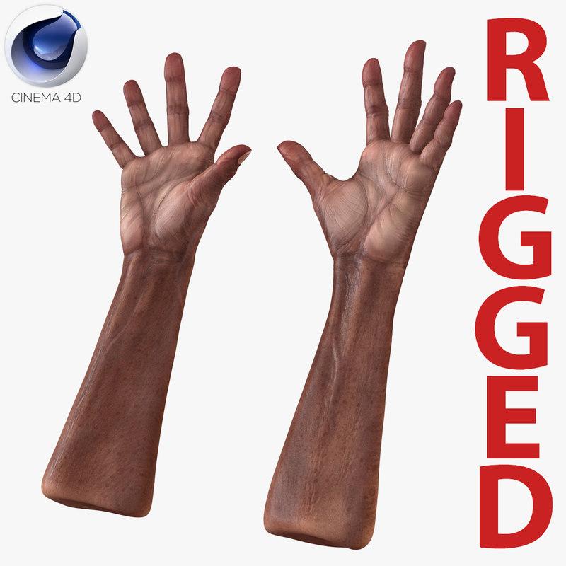 c4d old african man hands