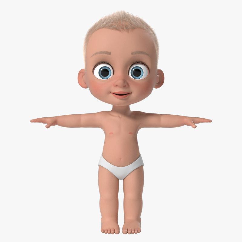 cartoon baby boy sheldon 3d ma