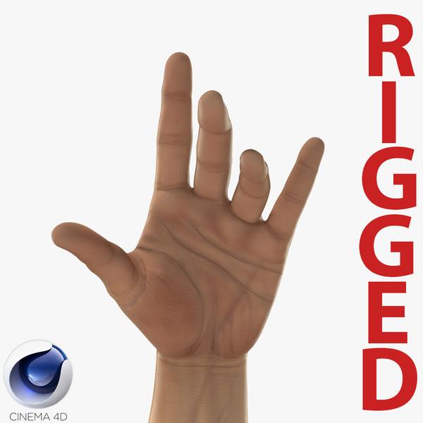 3d c4d man hands 2 rigged