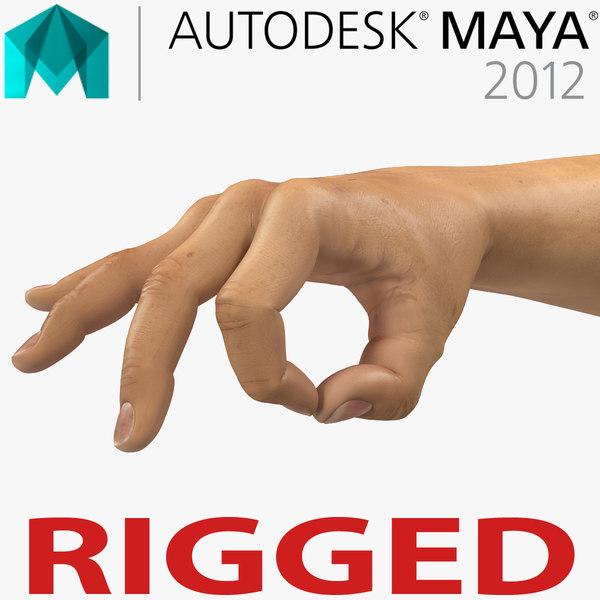 3d man hands 2 rigged