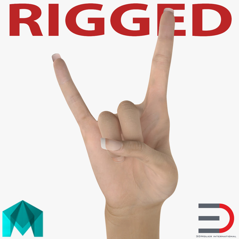 female hand 3 rigged 3d ma
