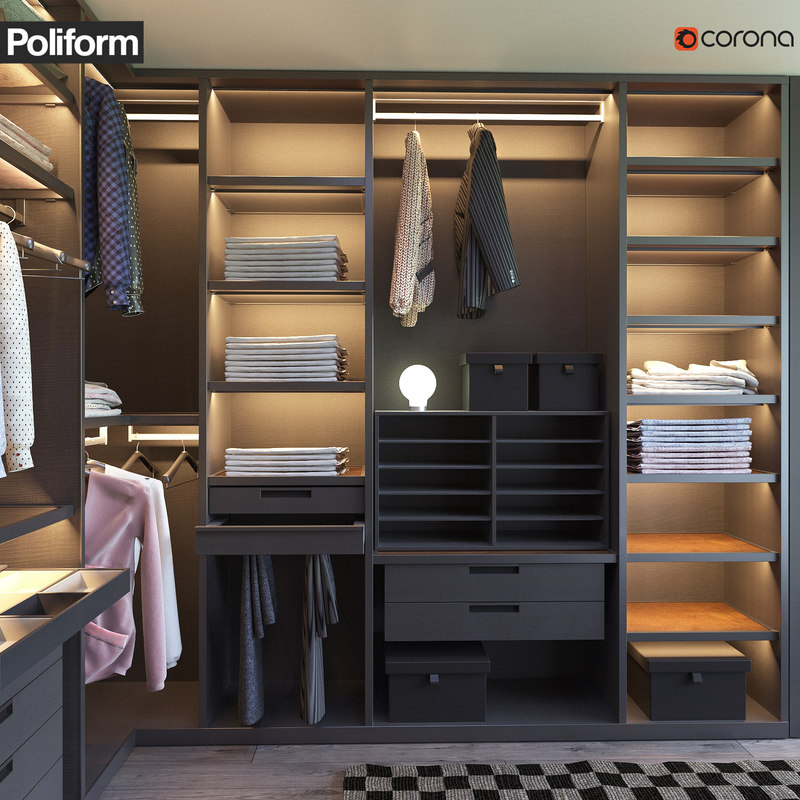 Poliform Senzafine Walk In Closet 3d Model