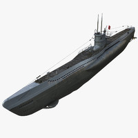 type u-boats ii viic 3d model