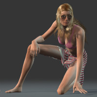 3d helena style beach female human