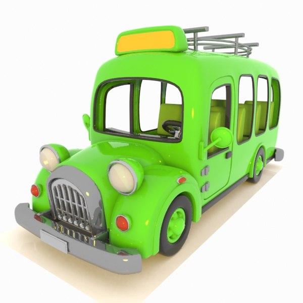 3d minibus bus toon model
