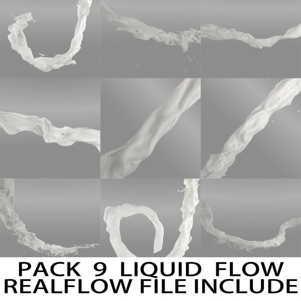 3d liquid flow pack realflow model