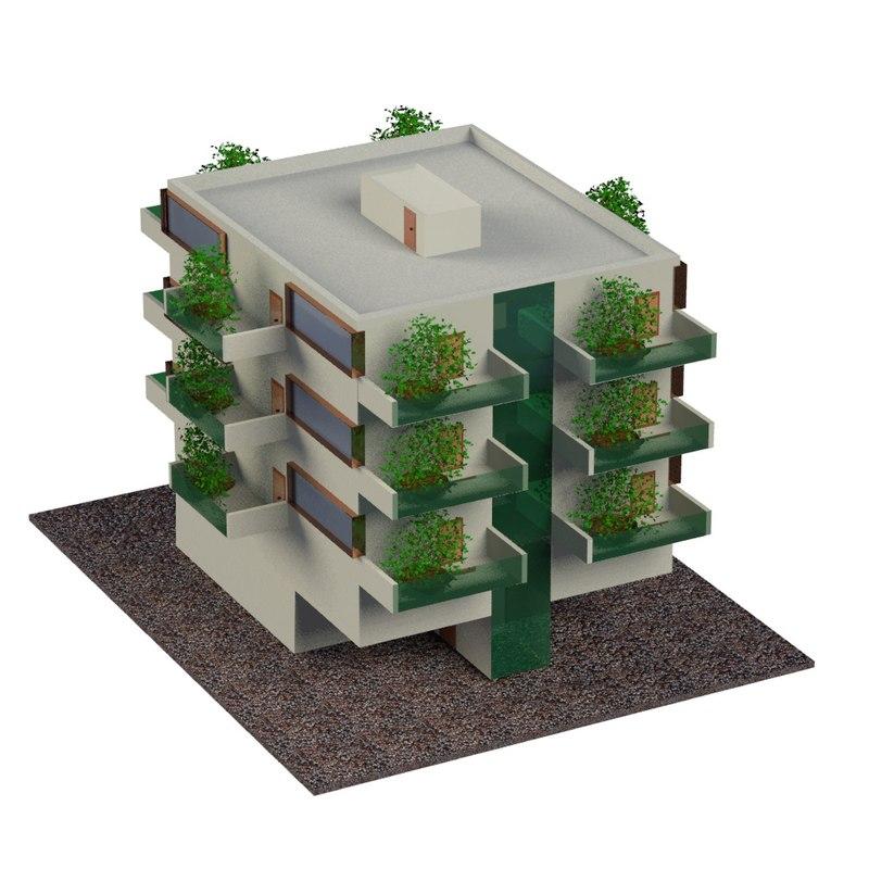 vertical garden building 3d max