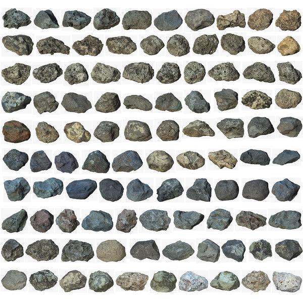 3d model scan 100 rock