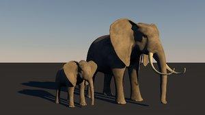 3d elephant baby model