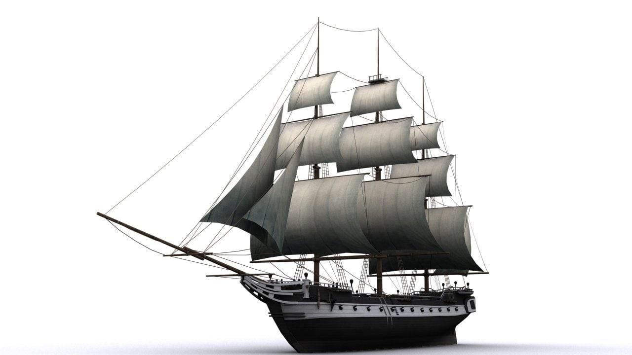 warship corvette 3d max