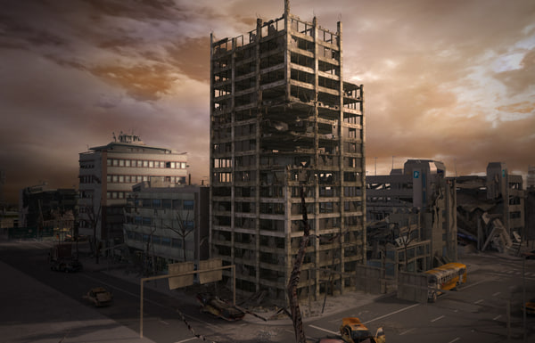 3d destroyed ruined city v-ray