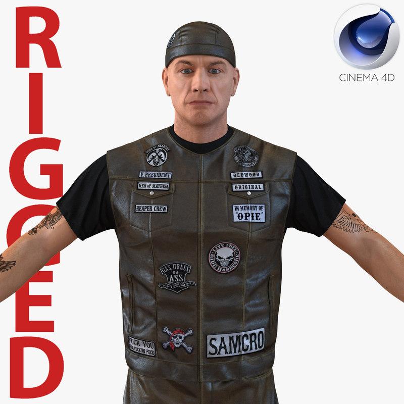 biker man rigged 2 3d model