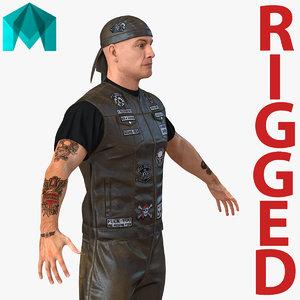 3d biker man rigged 2