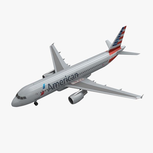 3d airbus a320 american airlines model