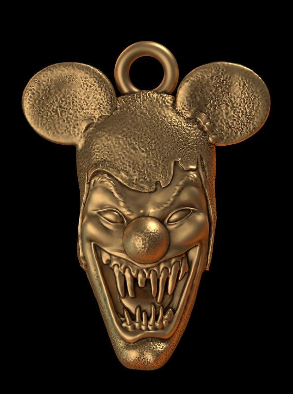 3d model of clown head pendant