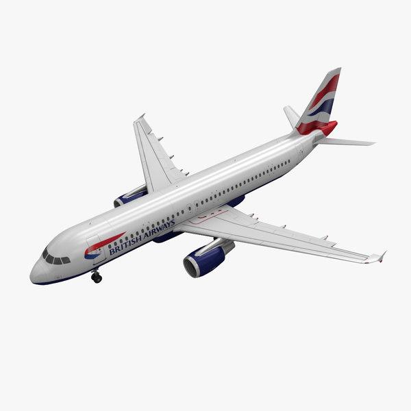 3d obj airbus a320 british airways