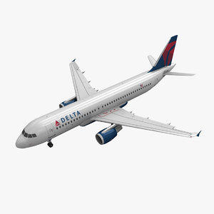 3d model airbus a320 delta airlines