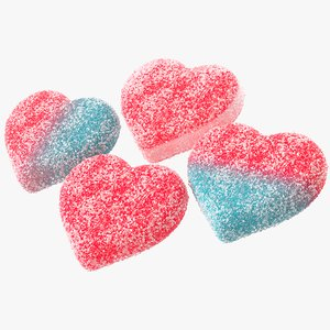 3d model of sugar gummy hearts