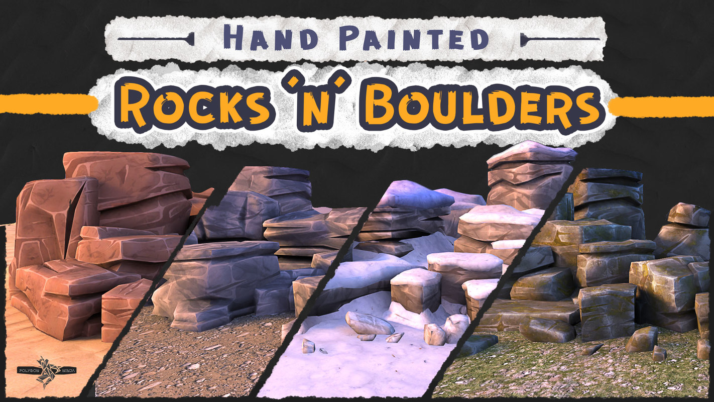 x mobile rocks boulders hand painted