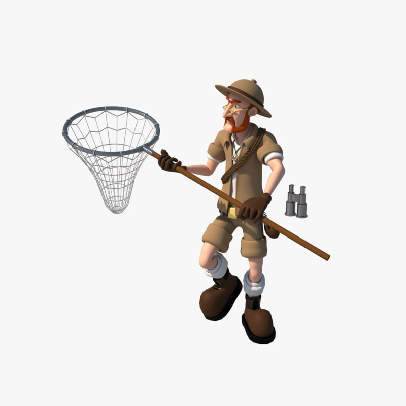 cartoon explorer character rigged 3d model