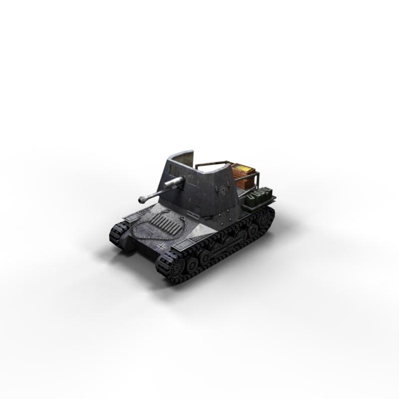 3d panzerjager 1 tank polys model