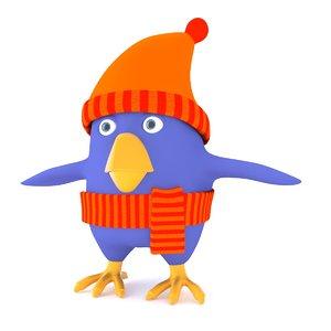 3d model cartoon bird animate