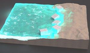 sandy white beach 2016 3d model